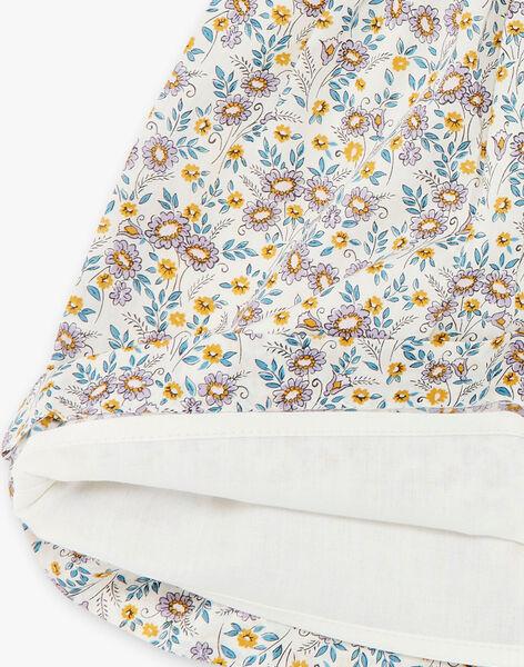 Robe et bloomer vanille et jaune imprimé liberty en coton fille CLAIRE 21 / 21VU1916N18114