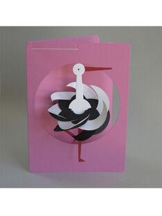 Carte mobile cigogne faite à la main Livingly rose  CARTE CIGO ROSE / 14PCDC064DMU030