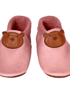 Chaussons en cuir rose Ours L CHAU L OURS ROS / 15PSSO043AHY030