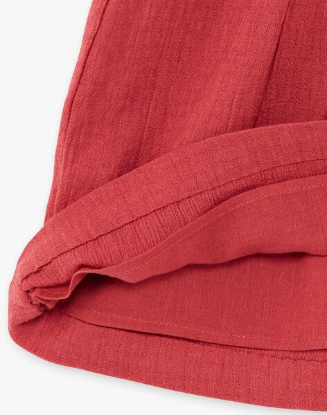 Robe fille grenat manches courtes en crêpe de coton CALIPSO 21 / 21VU1925N18511