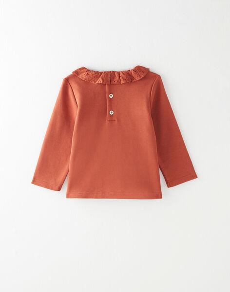 Tee-shirt fille à col en coton pima rouge brique  BIVY 20 / 20IU1951N0C506