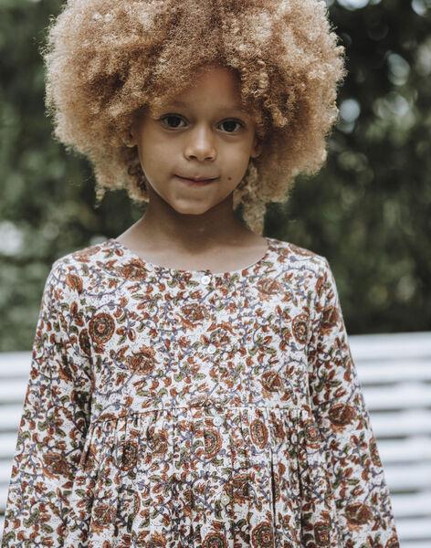 Blouse écrue et marron imprimé fleuri enfant fille DARLA 468 21 / 21I129113N09003