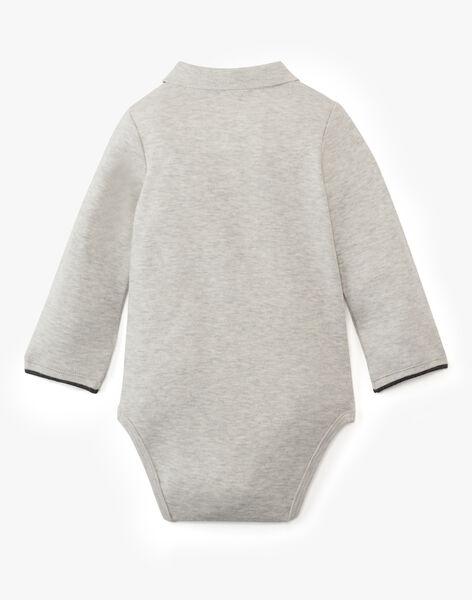 Body polo uni gris chiné manche longe garçon  ALICANTE-EL / PTXU2012N29943