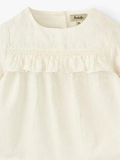 Blouse fille matière texturée motif floral couleur vanille  ALOUANE 20 / 20VU1914N09114
