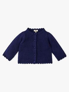 Cardigan fille coton laine mérinos couleur marine  ANDREA 20 / 20VU1914N11070