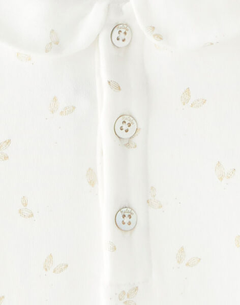 Tee-shirt fille imprimé irisé doré en coton pima vanille  BRISE 20 / 20IU1952N0C114
