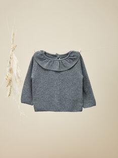 Pull à collerette en tricot gris fille   VINDIE 19 / 19IU1921N13309