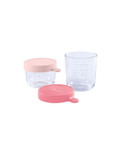 Coffret 2 pots de conservation en verre Béaba roses 150 & 250 mL dès 4 mois 150 ROSE/250ROS / 19PRR2008VAI999