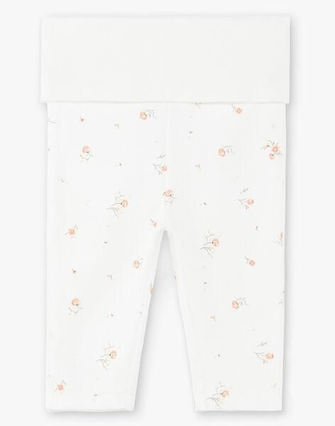 Leggings fille vanille en coton pima imprimé petites fleurs  DEMY 21 / 21PV2213N3A114