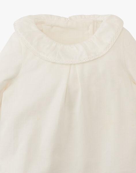 Tee-shirt fille vanille à col collerette ANESTELA 20 / 20VU1911N0C114