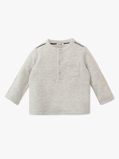 Tee shirt uni gris chiné en matière fantaisie garçon  AFFLECK 20 / 20VU2012N0F943