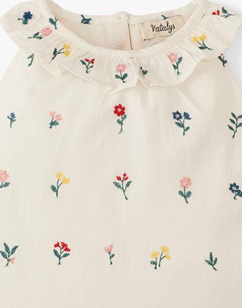 Blouse fille sans manches en imprimé fleurs brodé vanille  ALIETTE 20 / 20VU1922N09114