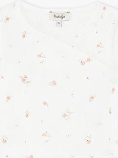 Body fille manches longues vanille en coton pima imprimé petites fleurs  DANSEUSE 21 / 21PV2211N2D114