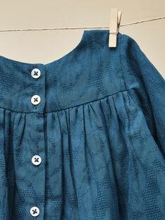 Robe smockée bleue manches longues fille VALLIE 19 / 19IV2211N18631