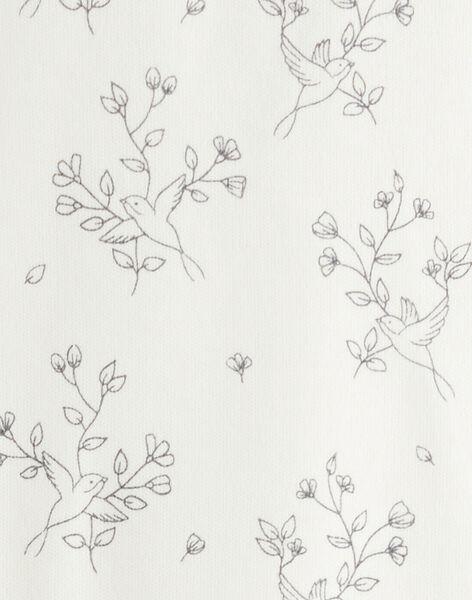 Body fille imprimé oiseaux et fleurs en interlock vanille  BLEUZENN 20 / 20IU1955N67114