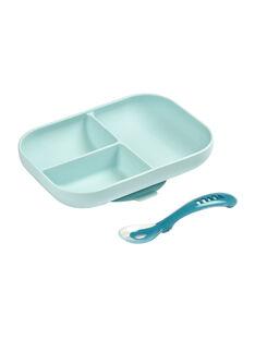 Coffret repas assiette & cuillère Béaba bleu 18,3x21,5x4 cm dès 4 mois SET SILI BLEU / 19PRR2004CREC218