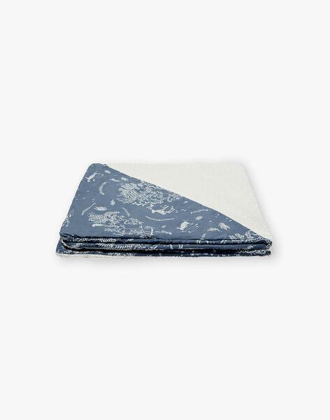 Cape de bain ecru et bleu horizon mixte RENALD-EL / PTXQ6418N73216