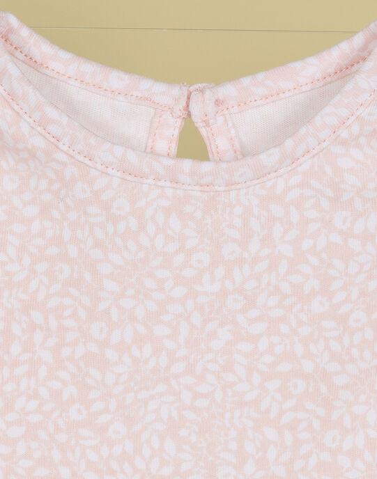 Grenouillère manches longues fleurs roses fille TAFFIE 19 / 19VU1922N69D300