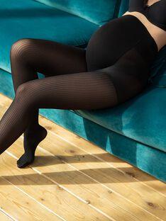 Collant de grossesse côtelé opaque noir LENA-EL / PTXW2512N22090