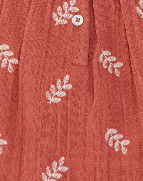 Robe fille bain de soleil terracotta brodé sur gaze de coton biologique CANOPI 21 / 21VV2213N18E415