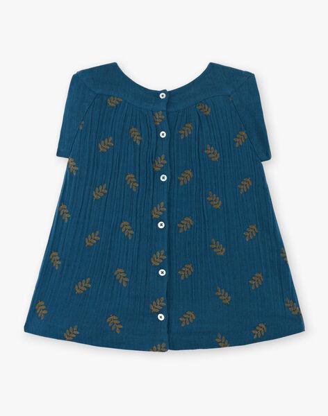 Robe fille bleue Paon brodée CORANTINE 21 / 21VU1915N18C235
