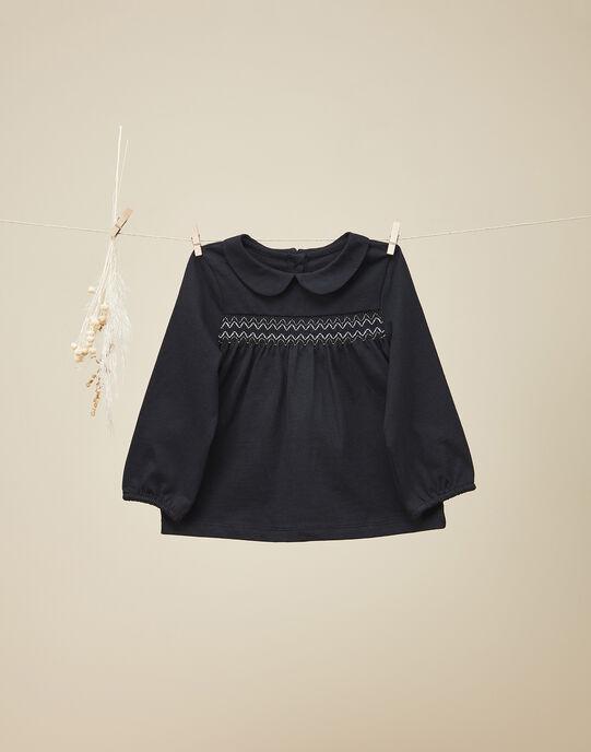 Tee-shirt smocké manches longues noir fille VADAZIANE 19 / 19IU1911N0C090