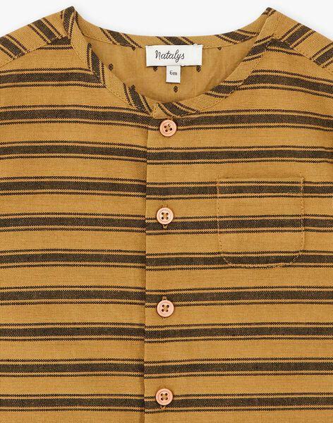 Chemise manches courtes garçon rayée couleur bronze  CORNELIUS 21 / 21VU2022N0A900