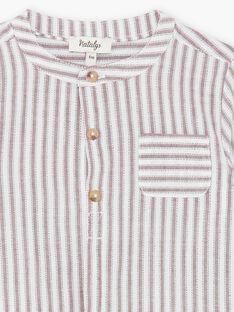 Chemise vanille et bordeaux à rayures en coton garçon CLOTAIRE 21 / 21VU2011N0A114