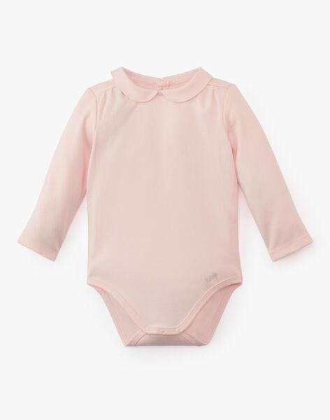 Body fille à col et manches longues en coton pima rose pâle ASOPHIE-EL / PTXU1914N29301