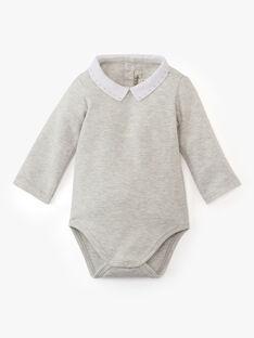 Body brodé uni gris chiné bi matière manche longue garçon  ARAMIS-EL / PTXV2312N29943