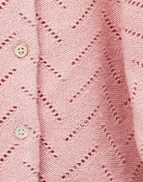 Cardigan tricot bois de rose fille    VINOLANE 19 / 19IV2212N11312
