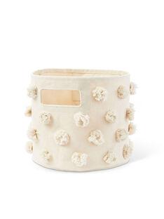 Panier moyen pompons ivoire PAN MOY IVOIRE / 19PCDC002APD005