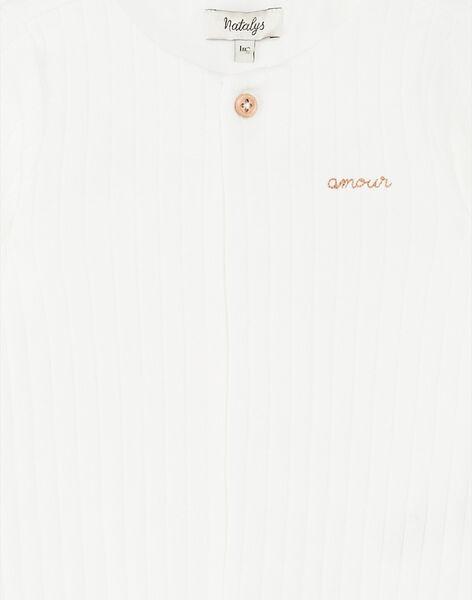 Grenouillère mixte vanille en côtes plates coton pima  DOUCEUR 21 / 21PV7612N31114