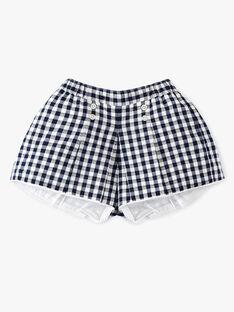 Short esprit jupe culotte fille en vichy bleu nocturne et blanc matière française  AUXANE 20 / 20VU1924N02713