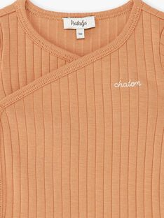 Body mixte manches courtes caramel en côtes coton pima   DESTY 21 / 21PV2412N2D420