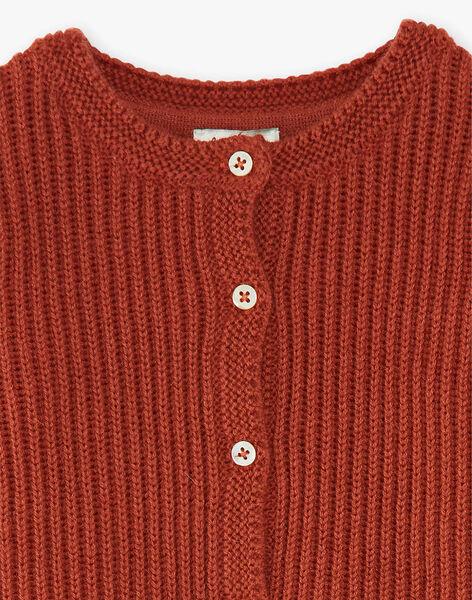 Cardigan fille rouge brique en côtes BIANCA 20 / 20IU1952N11506