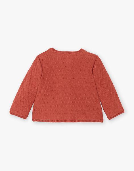 Cardigan tricot fille fantaisie couleur terracotta en coton biologique  CLARA 21 / 21VV2212N11E415