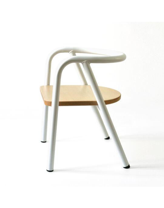 Chaise en métal blanc et bois CHAISE MET BLAN / 18PCMB003PMO000