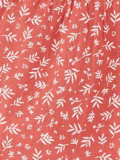 Blouse fille terracotta en imprimé floral sur coton  CELESTINE 21 / 21VU1911N09E415