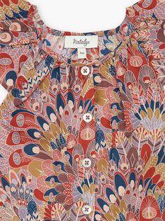 Blouse fille manches courtes terracotta en imprimé Liberty CLAUDIA 21 / 21VU1926N09E415