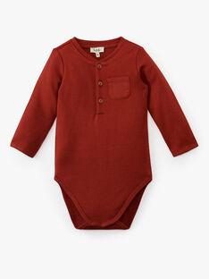 Body uni rouge brique bi matière manche longue  garçon  ALMIR 20 / 20VU2014N67506