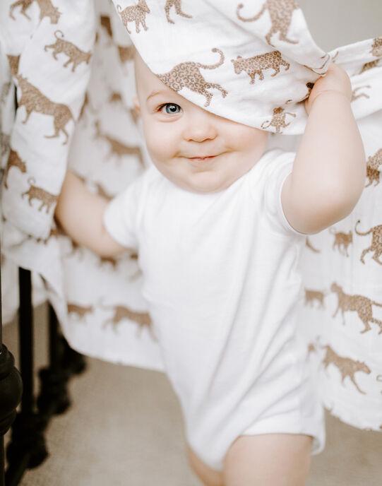 Pack de 4 maxi-langes imprimés Hear Me Roar Aden Anais blancs 120x120 cm dès la naissance 4 LANGES HEAR / 19PSSO012AHY999