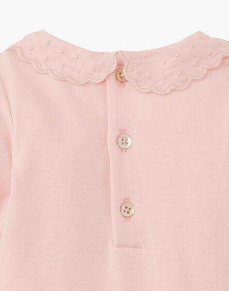 Body fille avec col brodé en coton pima rose dragé  ANELLY 20 / 20VV2212N29D310