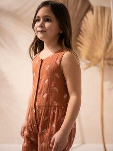Combinaison enfant fille terracotta brodé sur gaze de coton biologique CASSANDRE 468 2 / 21V129113N05410