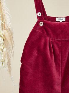 Salopette courte velours palatine rose framboise fille  VILA 19 / 19IU1931N06308