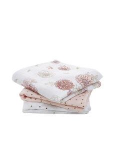 Pack de 3 langes Dahlia Aden Anais roses 70x70 cm dès la naissance 3 LANGES DAHLIA / 19PSSO008AHY999