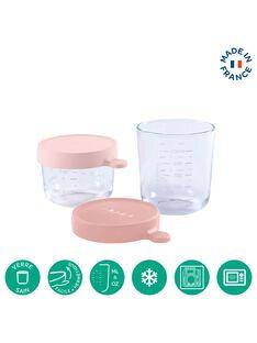 Coffret 2 pots de conservation en verre rose 150 ROSE/250ROS / 19PRR2008VAI999