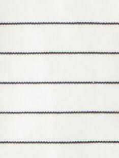Body fille rayé vanille et marine en interlock cotton pima   BALIXE 20 / 20IV2253N29114
