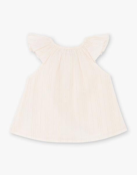 Blouse rose pâle à rayures Lurex® et coton fille CORELIE 21 / 21VV2212N09321