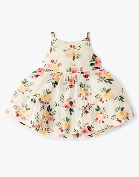 Robe bain de soleil et bloomer fille vanille en imprimé fleurs   ALDA 20 / 20VU1922N18114